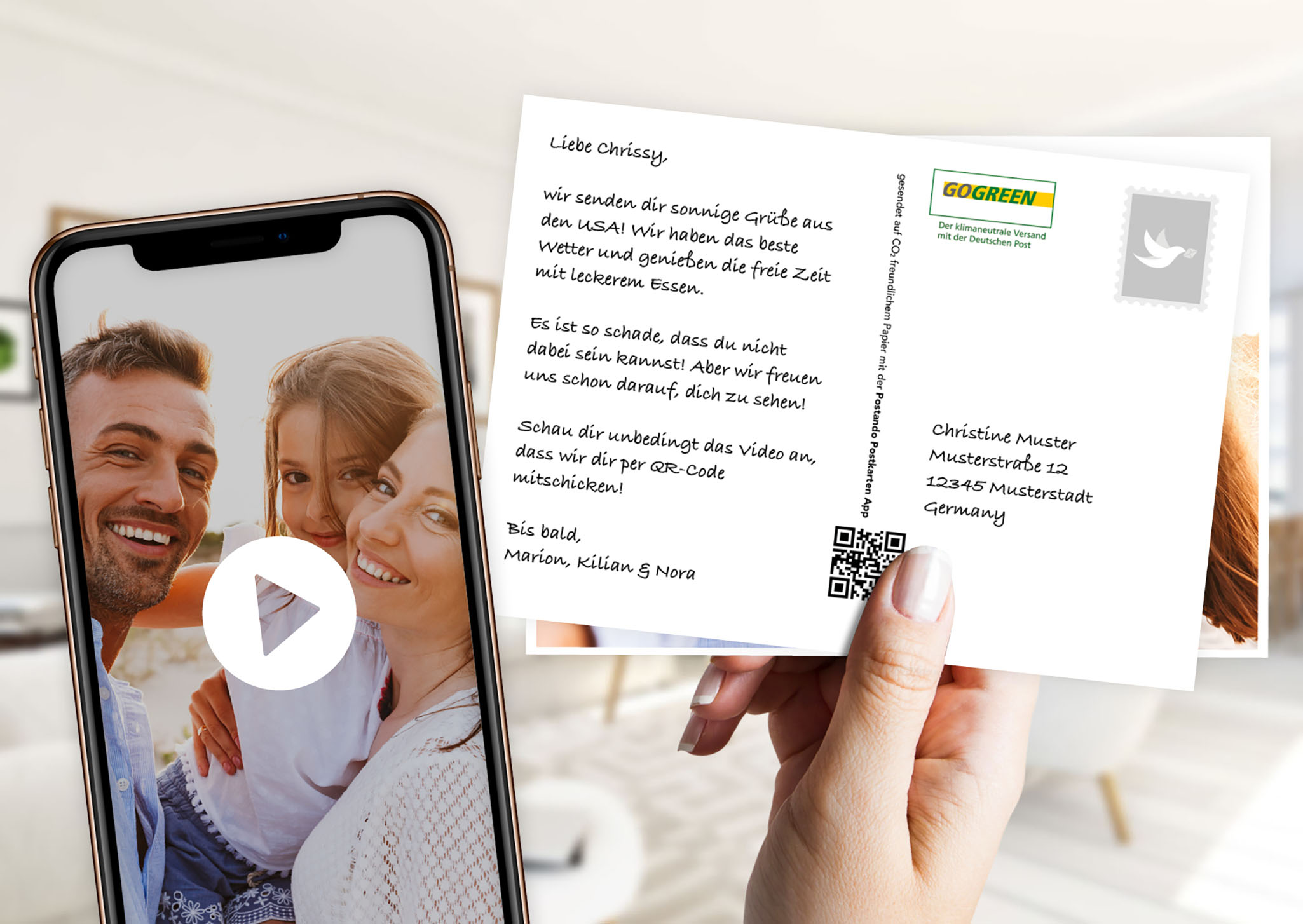 Postando: La carte postale avec un message vidéo